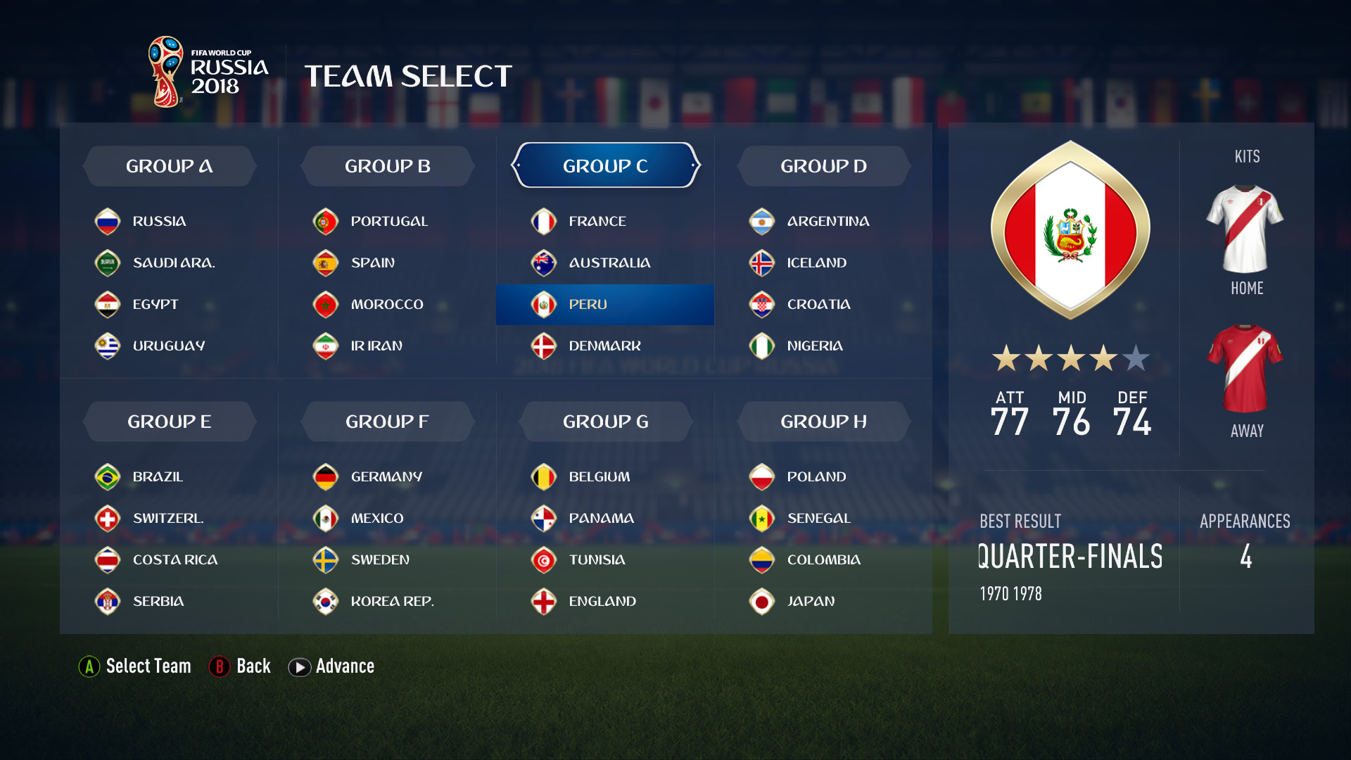 FIFA 18 World Cup grupe