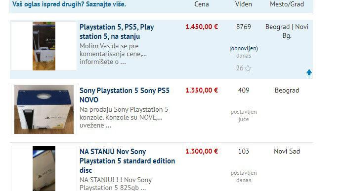 PlayStation 5 se prodaje po ceni većoj od 1400 evra